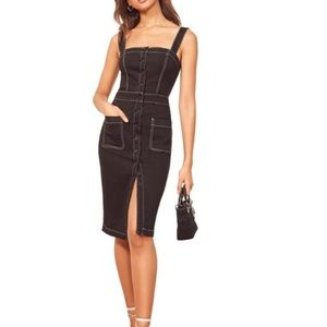 🌟nwot Reformation Roxanna Black denim dress